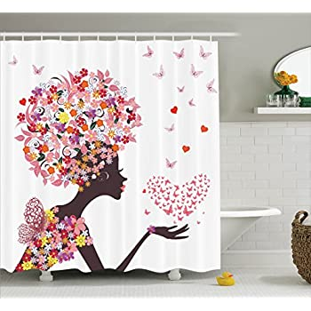 Afro Shower Curtain Floral Decor By Ambesonne Girl With A Heart Of Butterflies Enjoying Blossoms