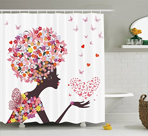 Girls Shower Curtain Butterflies Decor by Ambesonne, Girl with a Heart of Butterflies Enjoying Blossoms Summer Fantasy Happy, Bathroom Accessories, With Hooks, 69W X 70L Inches (Bathroom Sets Teen)