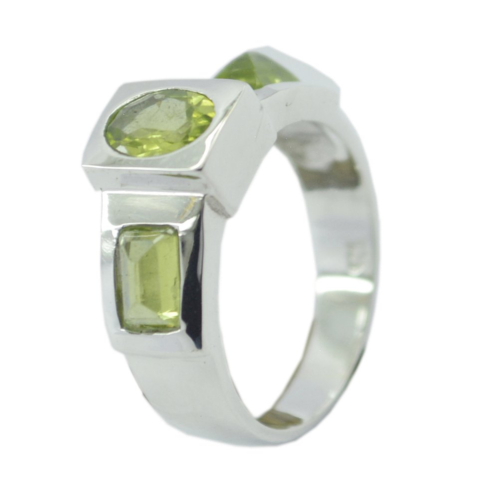 55Carat Natural Peridot Ring 3 Stone Sterling Silver August Birthstone Handmade Size 4,5,6,7,8,9,10,11,12