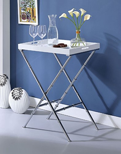 """Major-Q 31"""" H Modern White and Chrome Metal Base Breakfast Tray Side Table"""