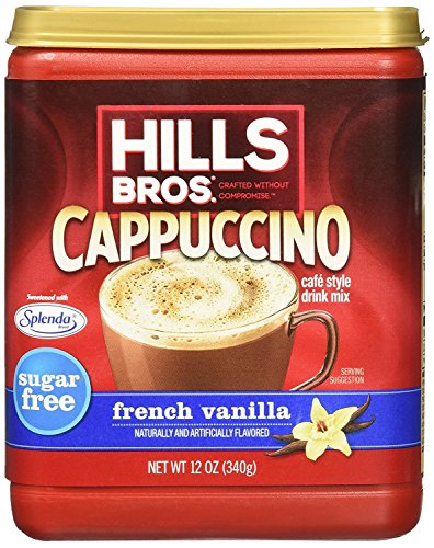 Hills Bros, Sugar-Free, French Vanilla Cappuccino Drink Mix, 12oz Canister (Pack of 3)