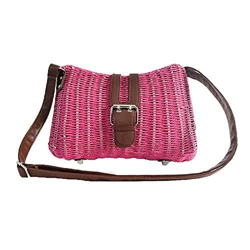 WANGXN Womens Mano Weave vacaciones de viajes de papel cuerda hierba hombro , rose red rose red