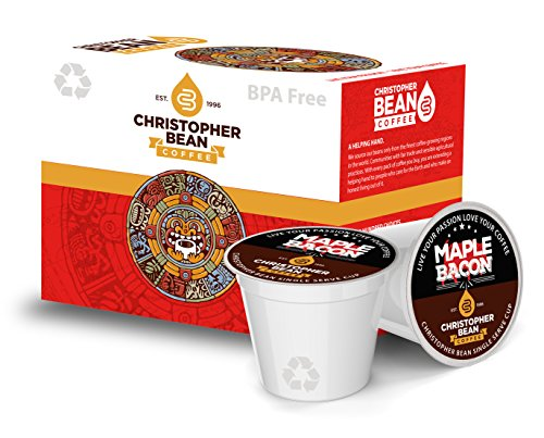 Maple Single Box - Christopher Bean Coffee Single Coffee K Cup for Keurig Brewers, Maple Bacon (1 Box Of 18 K Cups)
