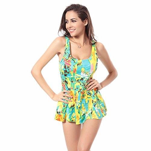 Moollyfox Bikini Bañador Traje De Baño Natación De Una Pieza De Moda Deportivo Monokini One-Piece Con Falda Para Mar Playa Mujer Amarillo