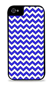 Chic Blue Chevron Stripes Zig Zag Pattern Phone Skin Cover Black 2-in-1 Protective Case with Silicone Insert for Apple iPhone 4 / 4S