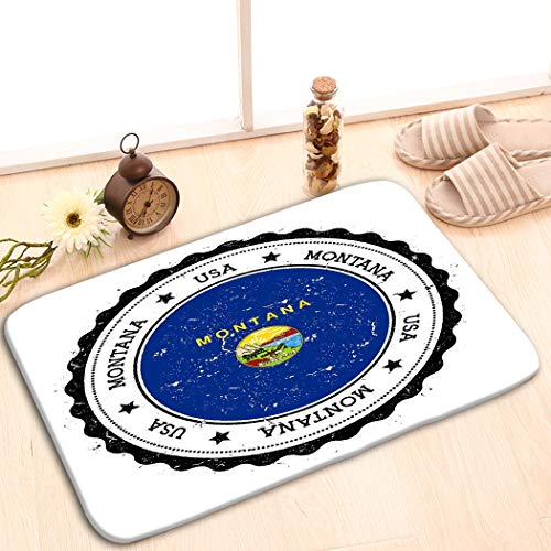 - zexuandiy Print Plush Bathroom Decor Mat with Non Slip Backing Coral White 15.7 x 23.6 Montana Flag Badge Montana Flag Badge Grunge Rubber s