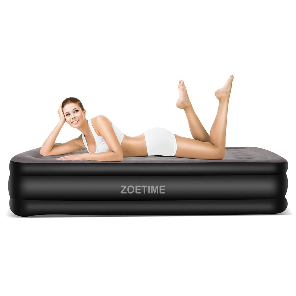Zoetime Upgraded King Size Double Air Mattress Blow up Elevated Raised Airbed Inflatable Beds with Built-in Electric Pump, Storage Bag and Repair Patches Included, 213 x 182 x 50 cm, Grey