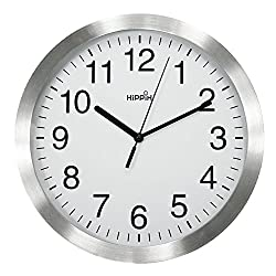 HIPPIH 12 Inch Silent Wall Clock - Large Non-Ticking Universal Indoor Decorative Clocks for Office/Kitchen/Bedroom/Living Room (Silver Frame)