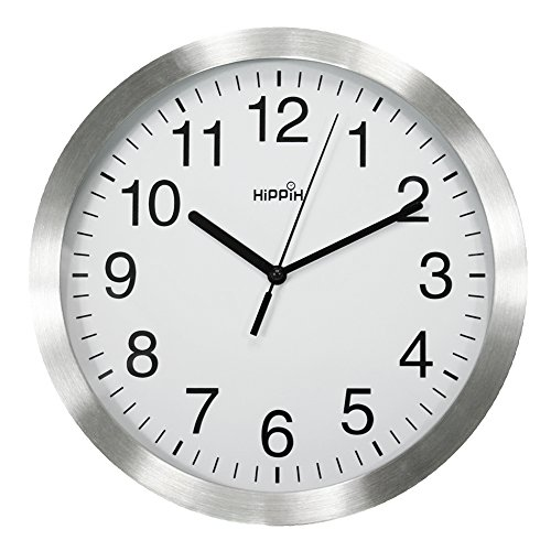 HIPPIH 12 Inch Silent Wall Clock - Large Non-Ticking Universal Indoor Decorative Clocks for Office/Kitchen/Bedroom/Living Room (Silver Frame) Universal Office Clock