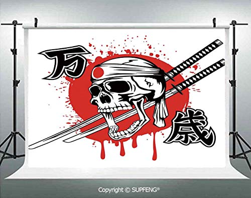 Photography Background Skull of Kamikaze with Bandanna Samurai Swords Japanese Flag Picture Art 3D Backdrops for Photography Backdrop Photo Background Studio Prop