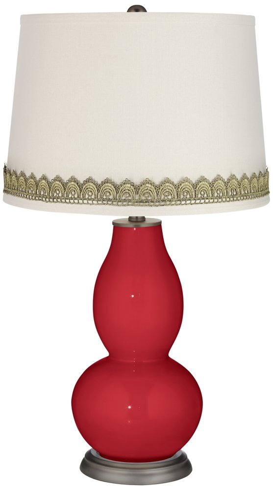 Ribbon Red Double Gourd Table Lamp with Scallop Lace Trim