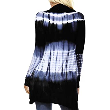 Amazon.com: Sunhusing Ladies Gradient Tie-Dye Print Long Sleeve Hi-Low Open Cardigan Asymmetric Top: Clothing