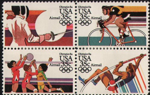 1984 SUMMER OLYMPICS '84 ~ LOS ANGELES ~ FENCING, VOLLEYBALL, CYCLING, POLE VAULT ~ AIRMAIL #C112a Block of 4 x 35¢ US Postage - Postage Air Stamps Us Mail