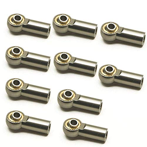 (10Pcs Link Rod End Joint Aluminum M3 Metal Ball End Head Holder Tie 1/10 RC D90 Axial SCX10 F350 (Titanium))