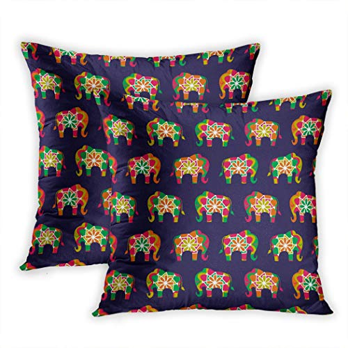 Suike Set of 2 Throw Pillow Covers Colorful Animal Elephant Pattern in Bright Asian Colour Palette Blue Asia Color Polyester Soft Cozy Square Decorative Pillowcases for Sofa Bedroom 20x20 Inches