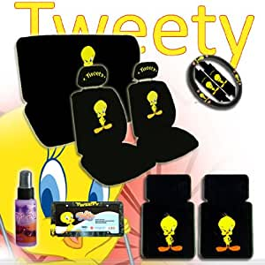 new design 15 pieces tweety bird attitude logo car seat covers set includes front. Black Bedroom Furniture Sets. Home Design Ideas