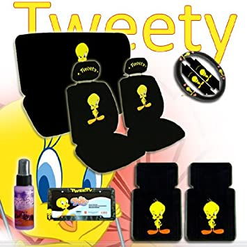 New Design 15 Pieces Tweety Bird Attitude Logo Car Seat Covers Set Includes Front And Rear