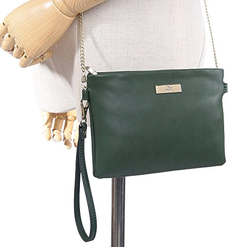 Green Leather Dark Purse Chain Bag with PU Soft Phone Cell Clutch Aitbags Crossbody Strap Wristlet 6SwnZHTqxa