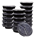 20-Pack Bento Lunch Box Round - 3-Compartment Meal Prep Containers with Clear Lids - BPA Free - Durable Plastic Reusable Food Storage Set, Black, 32 Oz, 8.2 x 2 x 8.2 Inches
