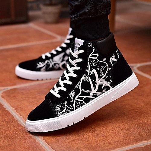 Superior Altas Superior PU Abstracto con Verano de Cordones los Zapatillas 2018 Zapatos Blanco Pintura Charol Planos Hombres Otoño ZFHqaP0w