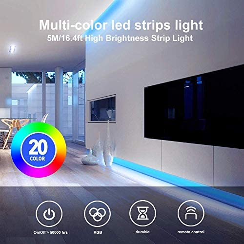 Daybetter Led Strip Lights 16.4ft with Remote Controller and Power Supply