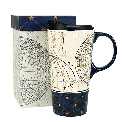 Ivy Home Ceramic Travel Mug Coffee Cup 17 oz,Starstruck