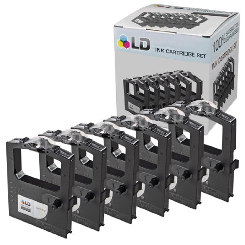 LD Compatible Printer Ribbon Cartridge Replacements for Okidata 52102001 (Black, 6-Pack)