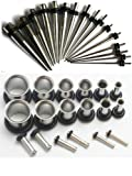 00g-16g Ear Stretching Kit Surgical Steel Tunnels and Tapers Plus Instructions