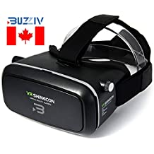 2017 Buzziv 3D VR Shinecon Headset Virtual Reality, Much Lighter & Upgraded Version for Movie and Games Helmet, Google Cardboard Glasses