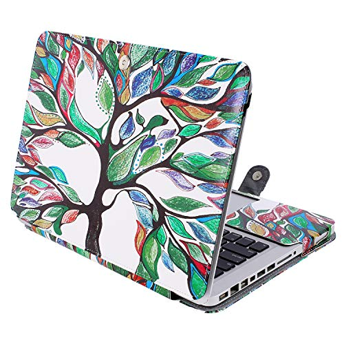 MOSISO PU Leather Case Only Compatible with Old MacBook Pro 13 Inch with CD-ROM A1278 (Early 2012/2011/2010/2009/2008 Release), Premium Quality Book Folio Protective Stand Cover Sleeve, Love Tree