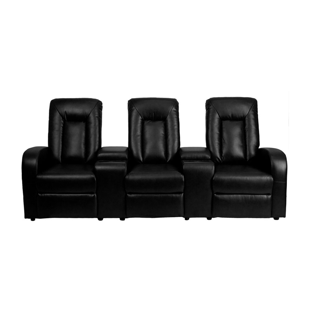 Offex OF-BT-70259-3-BK-GG 3-Seat Home Theater Leather Recliner with Storage Consoles, Black