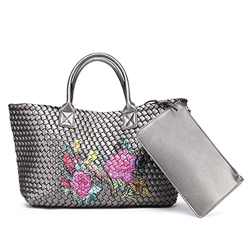 Otomoll Hobo Casual Handbag Leather Bag Women Dark Tote Knitting Silver Woven Large Handmade Graffiti Cross Stitch Capacity HqAHr1