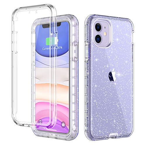 LONTECT for iPhone 11 Case Built-in Screen Protector Glitter Clear Sparkly Bling Rugged Shockproof Hybrid Full Body Protective Case Cover for Apple iPhone 11 6.1 2019