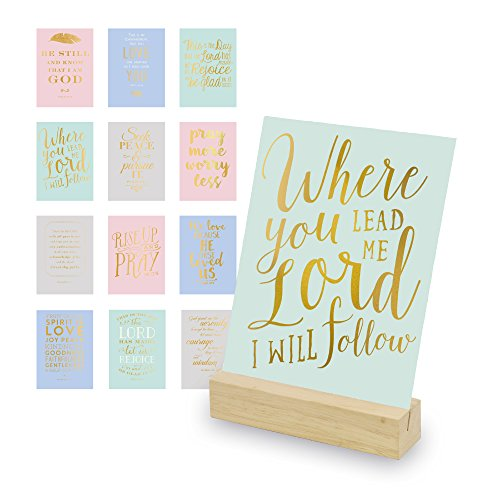 - Eccolo World Traveler Christian Art Desk Stand, Wooden Block Stand, 12 Gold Stamped Inspirational Cards
