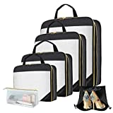 Packing Cubes, Cerekony Travel Luggage Compression Organizers 6 Sets (Black)