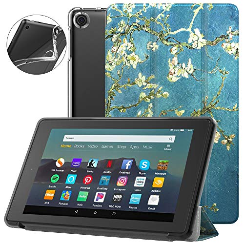 Dadanism All-New Amazon Kindle Fire 7 Tablet Case (9th Generation, 2019 Release), [Flexible TPU Translucent Back Shell] Ultra Slim Lightweight Trifold Stand Cover with Auto Sleep/Wake - Almond Blossom
