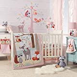 Lambs & Ivy Little Woodland Forest Animals 4 Piece Crib Bedding Set, Pink/White