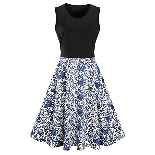 FEDULK Womens Retro Plus Size Sleeveless Vintage Floral Print Patchwork Flare Loose Swing Dress(Blue, US Size S = Tag M)