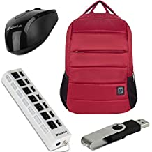 VanGoddy Bonni Collection Laptop Backpack for Asus 13.3 to 15.6-inch Laptops + USB Mouse + 4GB Thumbdrive + 7 Port USB Hub (Wine)