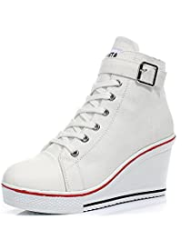 Padgene Women's Sneaker High-Heeled Fashion Canvas Shoes High Pump Lace UP Wedges Side Zipper Shoes (8.5 US, White 2)