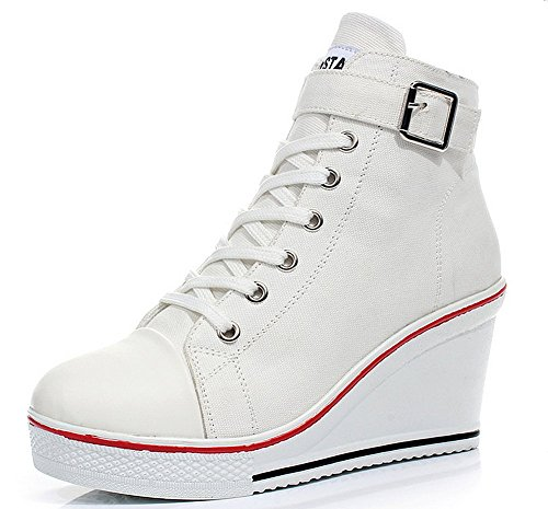 Padgene Women's Sneaker High-Heeled Fashion Canvas Shoes High Pump Lace UP Wedges Side Zipper Shoes (8.5 US, White - Heel Guess Heels High