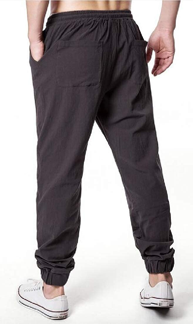 YYear Men Linen Solid Color Elastic Waisted Casual Drawstring Jogging Pants Trousers