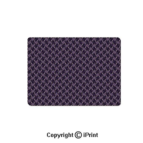 Gaming Mouse Pads, Pinwheel Design with Dark Color Palette Abstract Pattern Winter Motifs Non Slip Rubber Mousepad,7.1x8.7 inch,Mauve Lavander Purple