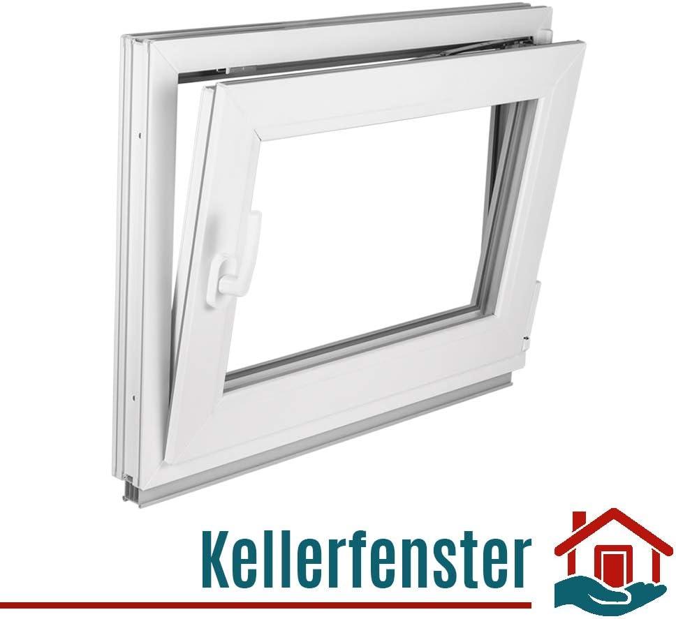 Kunststoff Kellerfenster PVC Dreh-Kipp wei/ß 2 fach Verglasung ALLE GR/Ö/ßEN BxH:115x55 cm DIN Rechts - Fenster Premium