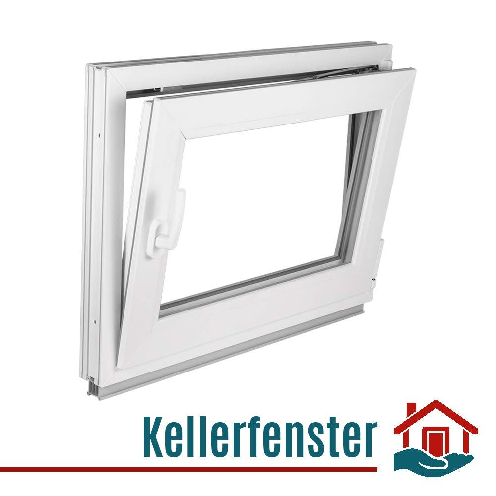 Premium Fenster Kunststoff verschiedene Ma/ße wei/ß -BxH:50x40 cm DIN Links -wei/ß Dreh-Kipp 2 fach Verglasung Kellerfenster