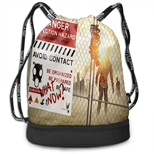 Fashion Gym Gift Printed Drawstring Backpacks Bags,Dead Man Walking In Dark Danger Scary Scene Fiction Halloween Infection Picture,Adjustable String Closure For Men And Women -