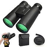 Binoculars for Adults, 12X42 Low Night Vision Binoculars Professional HD Compact Durable Folding Waterproof & Fogproof Roof Prism Binocular Scope for Bird Watching Travel Stargazing Hunting Concerts
