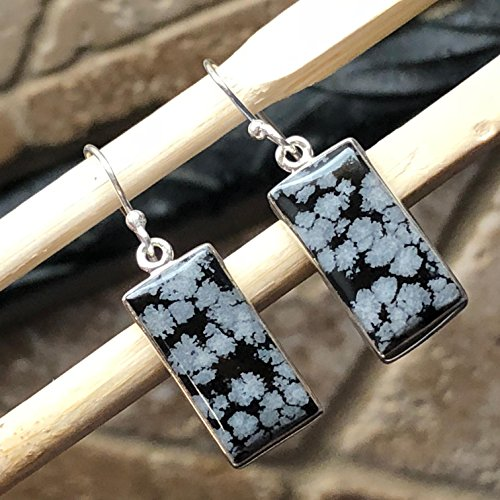 Genuine Snowflake Jasper Cabochon 925 Solid Sterling Silver Earrring 25mm Long