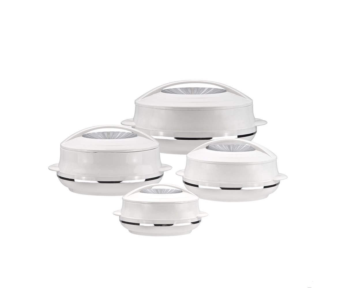 Insulated Serving Dishes with Lids - 4 Piece Olympic Thermal Hot Food Containers Set 0.8, 1.2, 1.6 and 2.5Liters, White SQ Professional