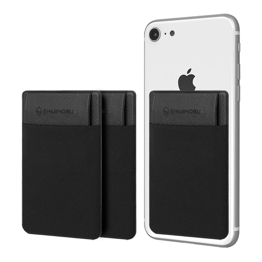 Sinjimoru Credit Card Holder for Back of Phone, Phone Card Holder, Stick on Wallet Functioning as Cell Phone Card Sleeves, Adhesive ID Case for iPhone SinjiPouch Flap, Black [3 Pack] by Sinjimoru